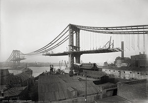 Manhattan Bridge (under construction) Seen from Brooklyn